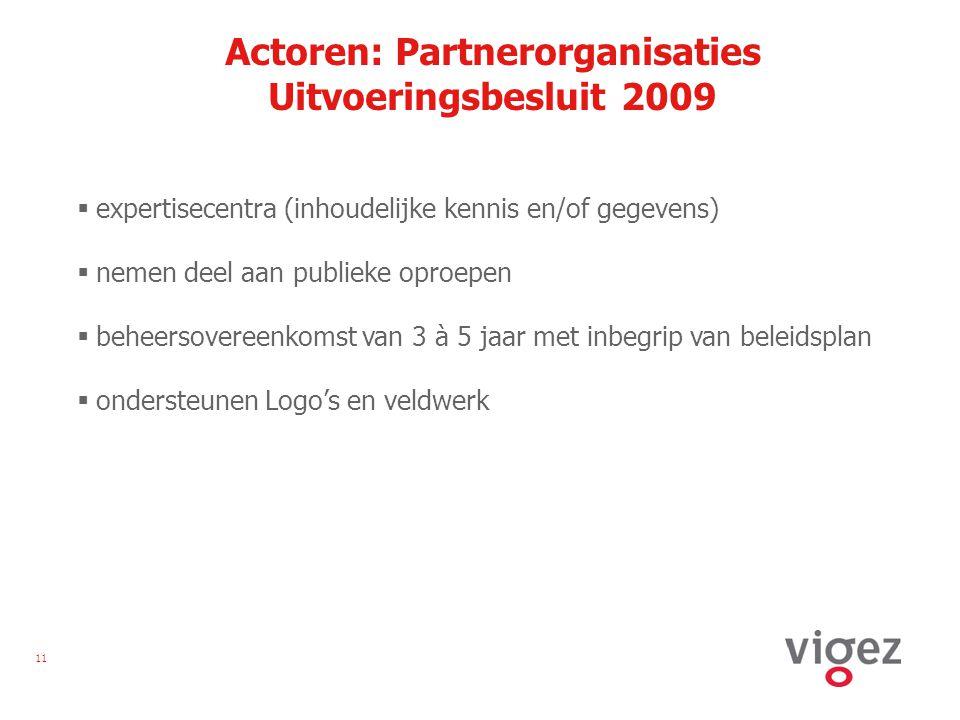 11 Actoren: Partnerorganisaties Uitvoeringsbesluit 2009  expertisecentra (inhoudelijke kennis en/of gegevens)  nemen deel aan publieke oproepen  beheersovereenkomst van 3 à 5 jaar met inbegrip van beleidsplan  ondersteunen Logo's en veldwerk