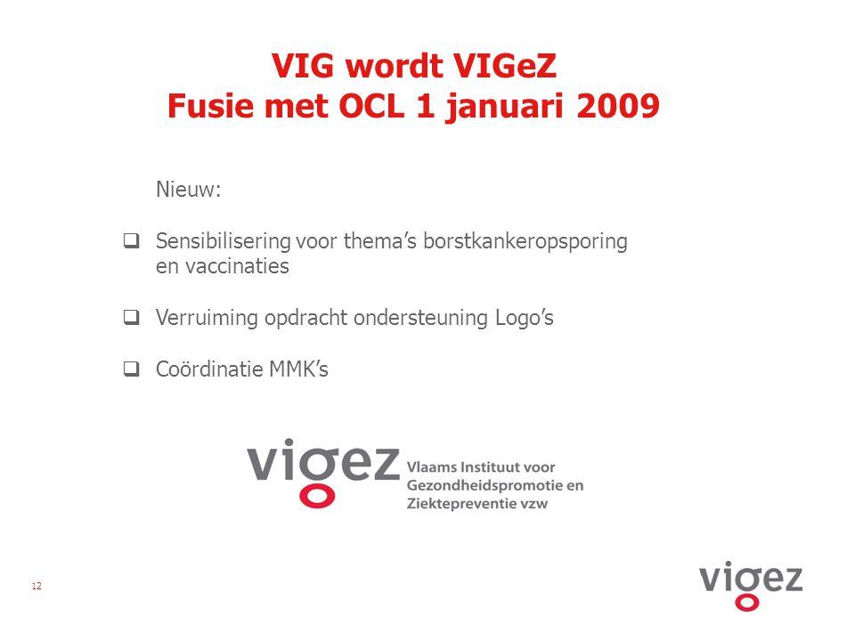 12 VIG wordt VIGeZ Fusie met OCL 1 januari 2009 Nieuw:  Sensibilisering voor thema's borstkankeropsporing en vaccinaties  Verruiming opdracht ondersteuning Logo's  Coördinatie MMK's