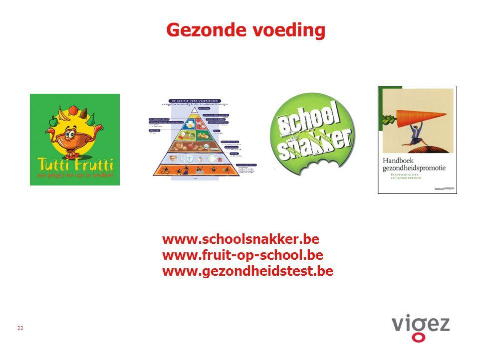 22 Gezonde voeding www.schoolsnakker.be www.fruit-op-school.be www.gezondheidstest.be