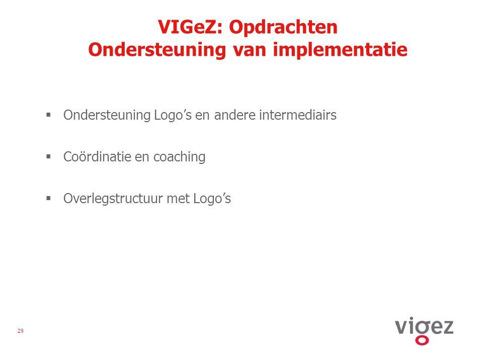 29 VIGeZ: Opdrachten Ondersteuning van implementatie  Ondersteuning Logo's en andere intermediairs  Coördinatie en coaching  Overlegstructuur met Logo's