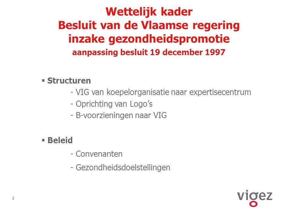 4 Vlaamse gezondheidsdoelstellingen 1998-2002  Daling met 10 % van het aantal rokers, zowel bij mannen als bij vrouwen en specifiek bij jongeren  Significante daling van de consumptie van vetrijke voeding ten voordele van vetarme en vezelrijke voeding  Doelmatiger borstkankerscreening bij vrouwen: -het aandeel screenings bij de doelgroep 50-69-jarigen neemt toe tot 80 % -het aantal vrouwen uit de doelgroep dat bereikt wordt, neemt toe tot 75 %  Afname met 20 % van het aantal dodelijke ongevallen in de privésfeer en in het verkeer  Significante verbetering van de preventie van infectieziekten door verhoogde vaccinatiegraad voor polio, kinkhoest, tetanos, difterie, mazelen, bof en rubella