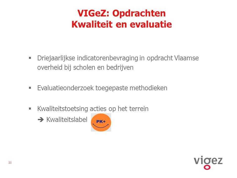 30 VIGeZ: Opdrachten Kwaliteit en evaluatie  Driejaarlijkse indicatorenbevraging in opdracht Vlaamse overheid bij scholen en bedrijven  Evaluatieonderzoek toegepaste methodieken  Kwaliteitstoetsing acties op het terrein  Kwaliteitslabel