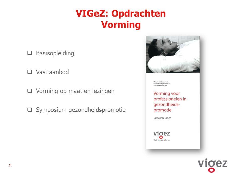 31 VIGeZ: Opdrachten Vorming  Basisopleiding  Vast aanbod  Vorming op maat en lezingen  Symposium gezondheidspromotie