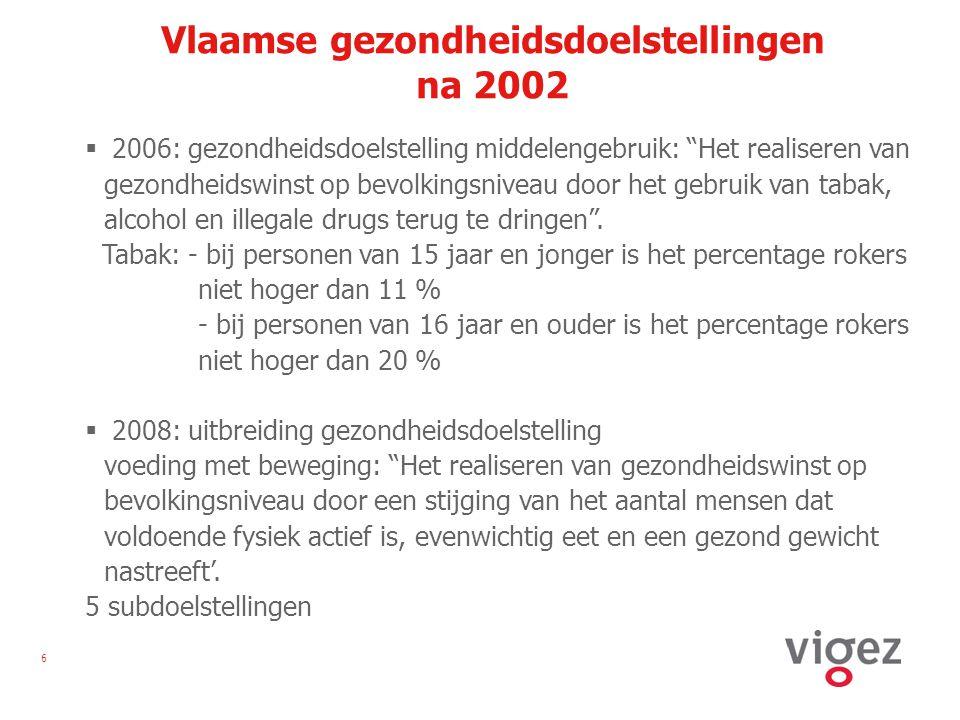 6 Vlaamse gezondheidsdoelstellingen na 2002  2006: gezondheidsdoelstelling middelengebruik: Het realiseren van gezondheidswinst op bevolkingsniveau door het gebruik van tabak, alcohol en illegale drugs terug te dringen .