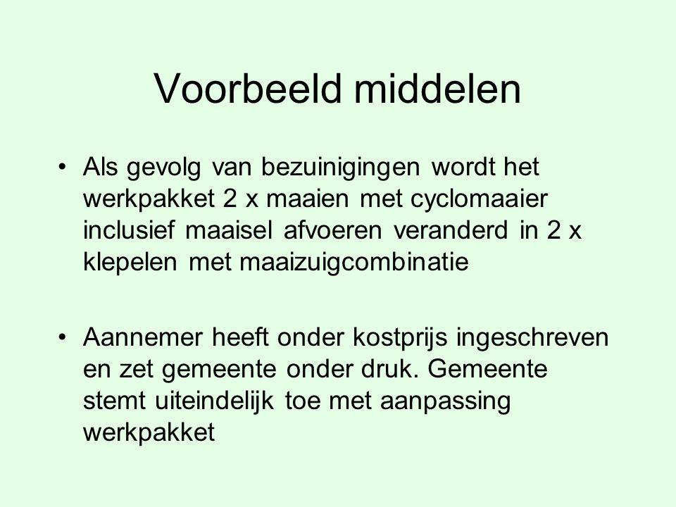 Voorbeeld middelen Als gevolg van bezuinigingen wordt het werkpakket 2 x maaien met cyclomaaier inclusief maaisel afvoeren veranderd in 2 x klepelen m