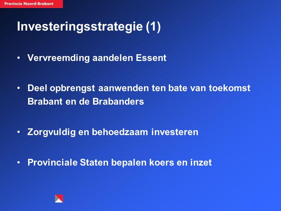 Investeringsstrategie (1) Vervreemding aandelen Essent Deel opbrengst aanwenden ten bate van toekomst Brabant en de Brabanders Zorgvuldig en behoedzaam investeren Provinciale Staten bepalen koers en inzet