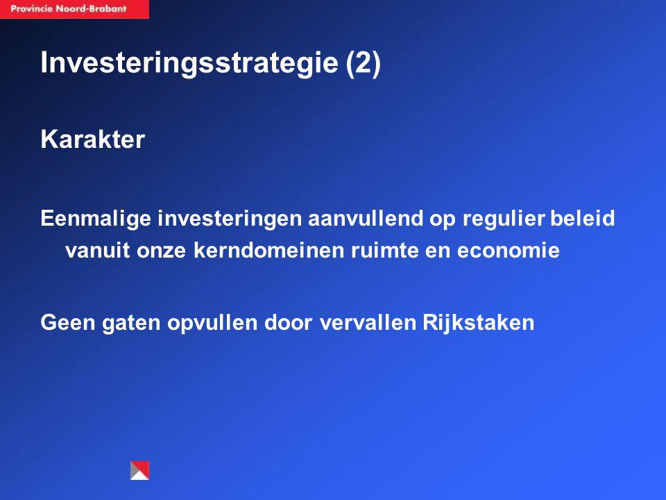 Investeringsstrategie (2) Karakter Eenmalige investeringen aanvullend op regulier beleid vanuit onze kerndomeinen ruimte en economie Geen gaten opvullen door vervallen Rijkstaken