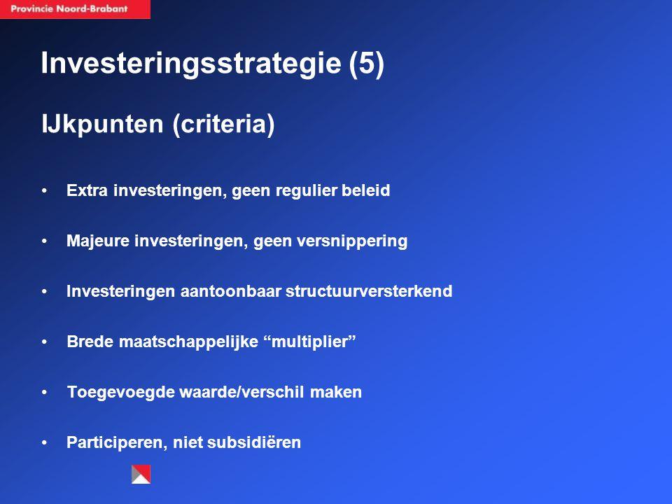 Investeringsstrategie (5) IJkpunten (criteria) Extra investeringen, geen regulier beleid Majeure investeringen, geen versnippering Investeringen aantoonbaar structuurversterkend Brede maatschappelijke multiplier Toegevoegde waarde/verschil maken Participeren, niet subsidiëren