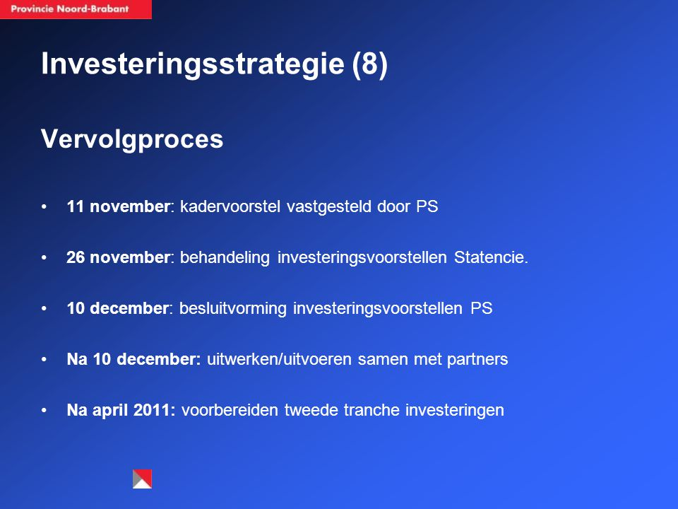 Investeringsstrategie (8) Vervolgproces 11 november: kadervoorstel vastgesteld door PS 26 november: behandeling investeringsvoorstellen Statencie.