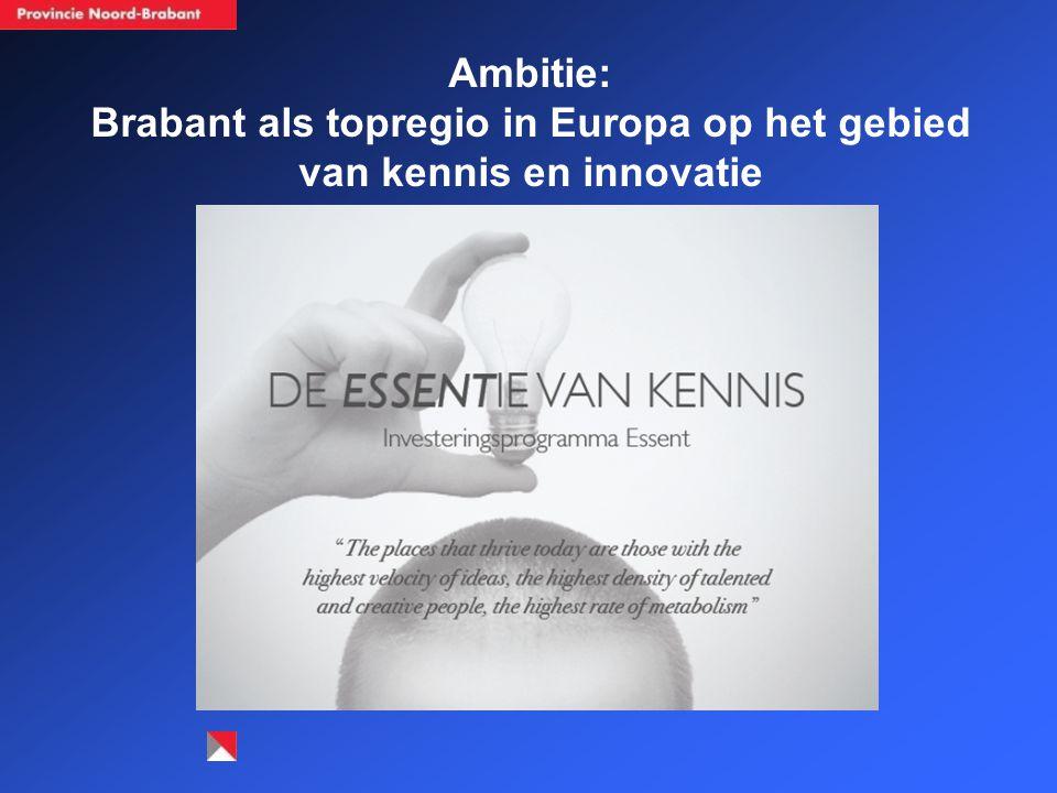 Investeringsstrategie (4) Investeringsdomeinen ('effectvelden') Kennis (duurzame innovatie en slimme ambachtelijkheid) De bereikbare regio Leefklimaat Brabants mozaïek Natuur en landschap