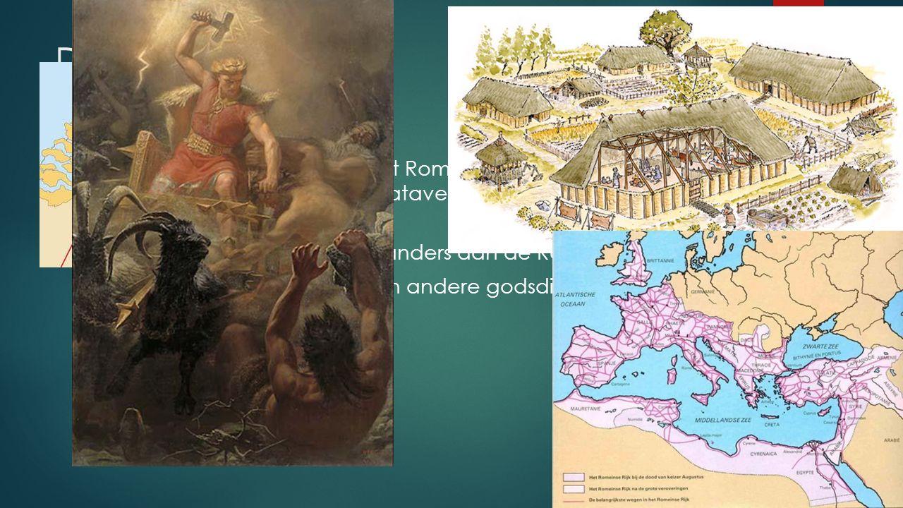 De Germanen  Buiten de grenzen van het Romeinse Rijk leefden vele andere volken. Bijvoorbeeld de Bataven in Nederland. Zij behoorden tot de Germanen.