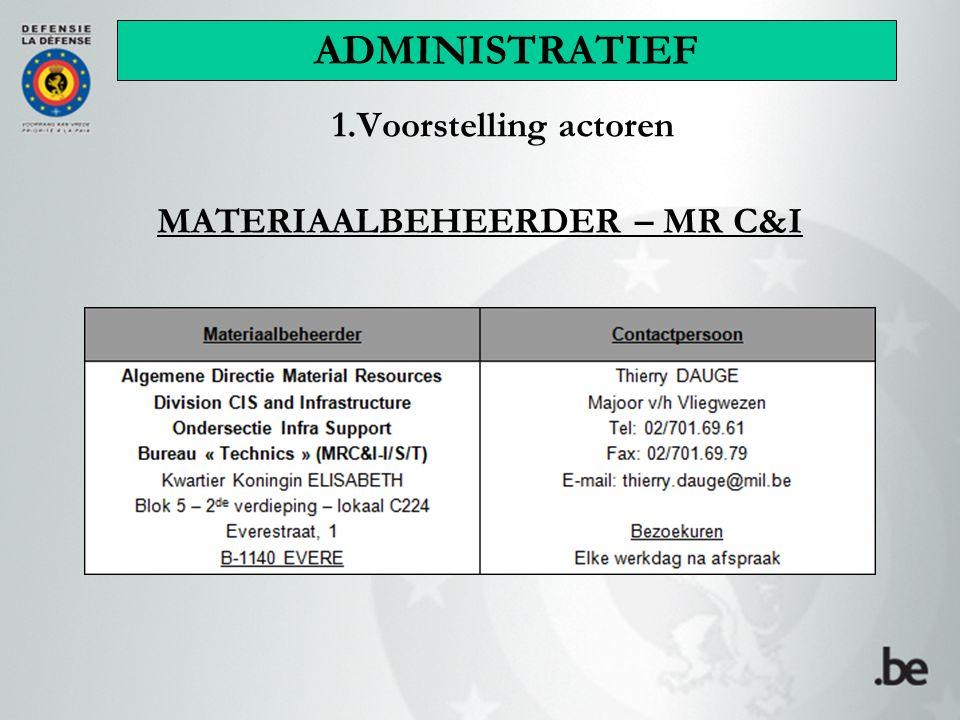 1.Voorstelling actoren MATERIAALBEHEERDER – MR C&I ADMINISTRATIEF