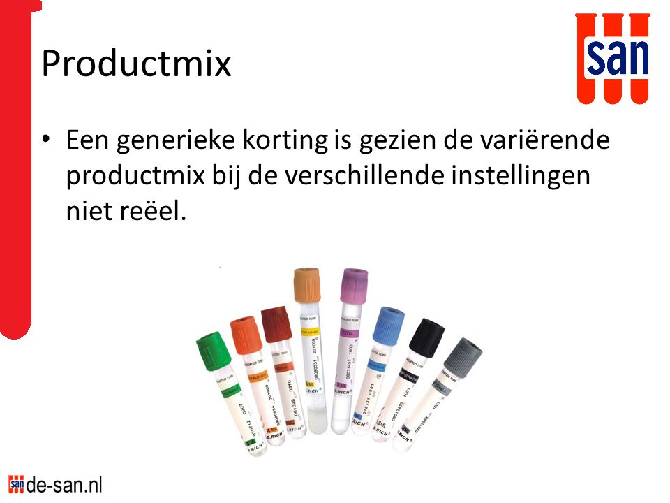 Productmix Een generieke korting is gezien de variërende productmix bij de verschillende instellingen niet reëel.