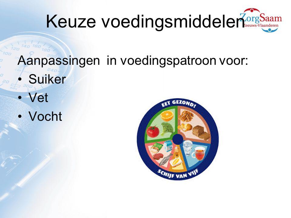 Keuze voedingsmiddelen Aanpassingen in voedingspatroon voor: Suiker Vet Vocht