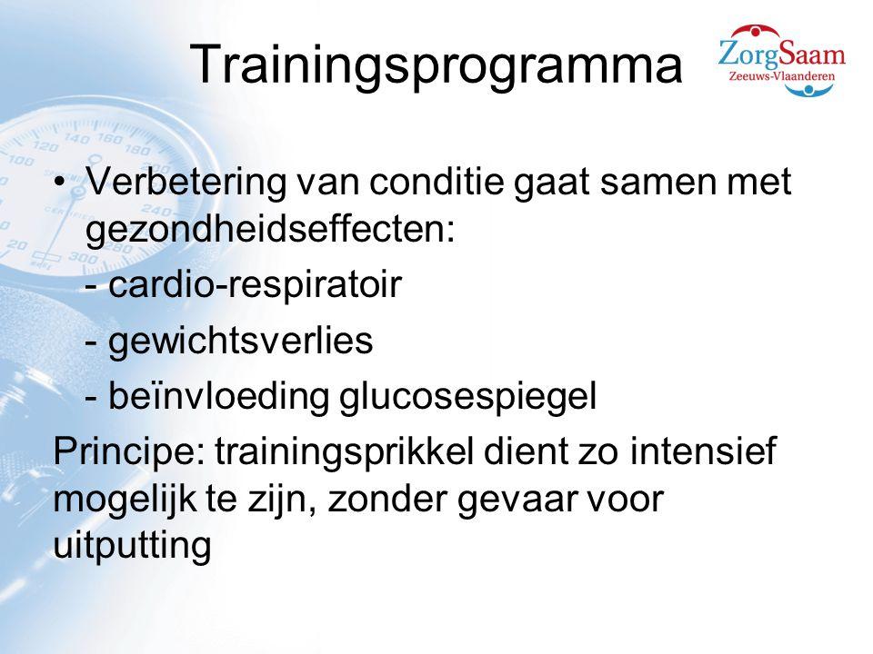 Trainingsprogramma Verbetering van conditie gaat samen met gezondheidseffecten: - cardio-respiratoir - gewichtsverlies - beïnvloeding glucosespiegel Principe: trainingsprikkel dient zo intensief mogelijk te zijn, zonder gevaar voor uitputting