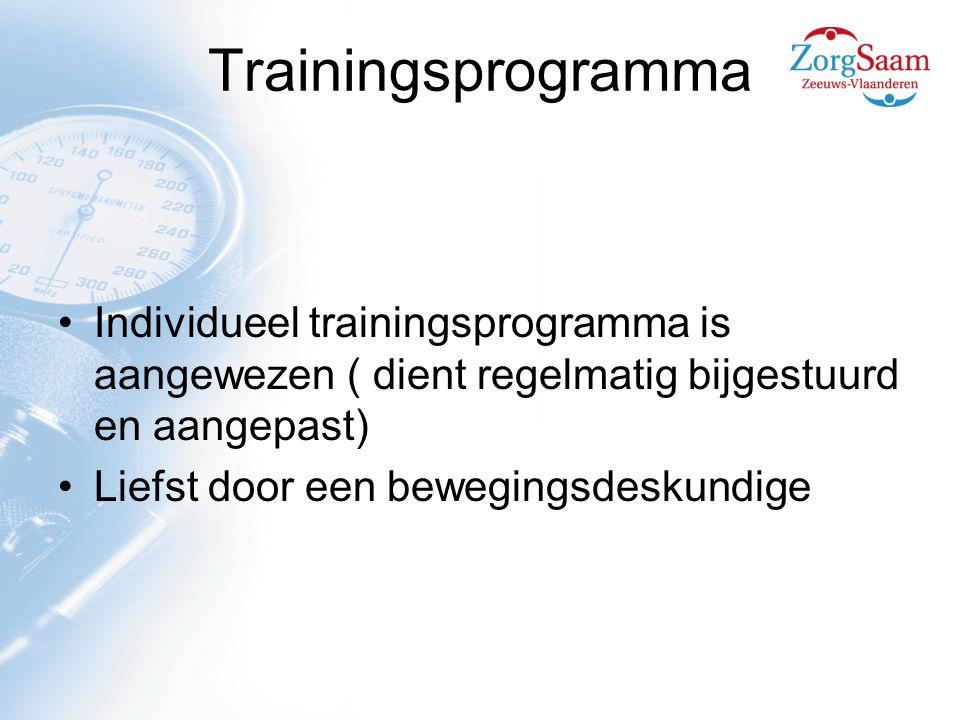 Trainingsprogramma Individueel trainingsprogramma is aangewezen ( dient regelmatig bijgestuurd en aangepast) Liefst door een bewegingsdeskundige