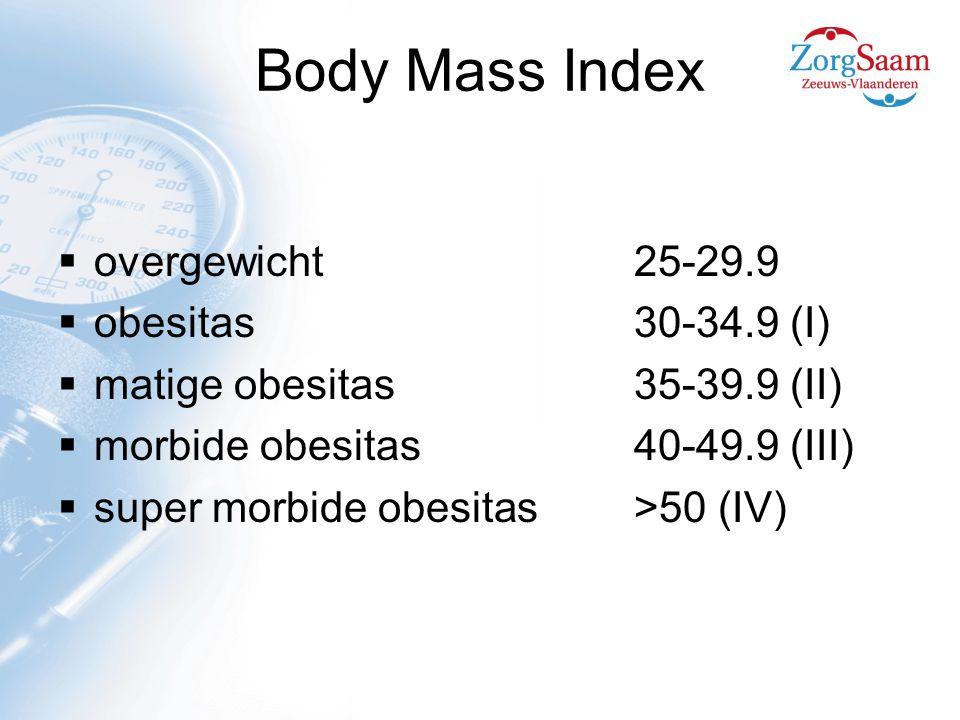 Body Mass Index  overgewicht25-29.9  obesitas30-34.9 (I)  matige obesitas35-39.9 (II)  morbide obesitas40-49.9 (III)  super morbide obesitas>50 (IV)