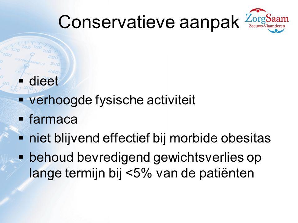 Conservatieve aanpak  dieet  verhoogde fysische activiteit  farmaca  niet blijvend effectief bij morbide obesitas  behoud bevredigend gewichtsverlies op lange termijn bij <5% van de patiënten