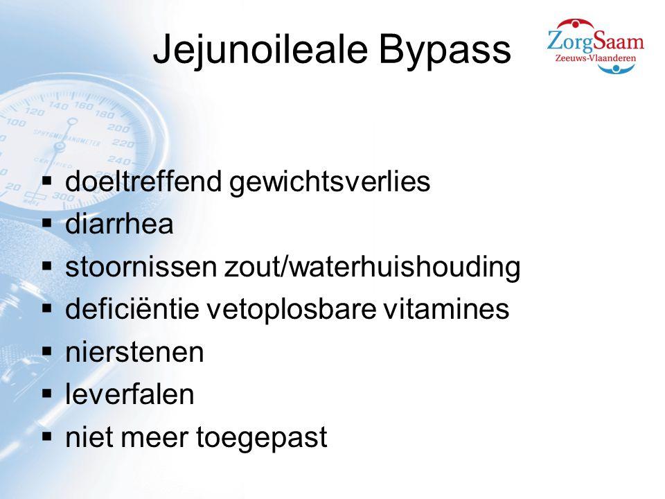 Jejunoileale Bypass  doeltreffend gewichtsverlies  diarrhea  stoornissen zout/waterhuishouding  deficiëntie vetoplosbare vitamines  nierstenen  leverfalen  niet meer toegepast
