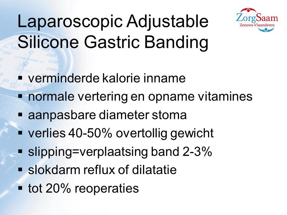 Laparoscopic Adjustable Silicone Gastric Banding  verminderde kalorie inname  normale vertering en opname vitamines  aanpasbare diameter stoma  verlies 40-50% overtollig gewicht  slipping=verplaatsing band 2-3%  slokdarm reflux of dilatatie  tot 20% reoperaties