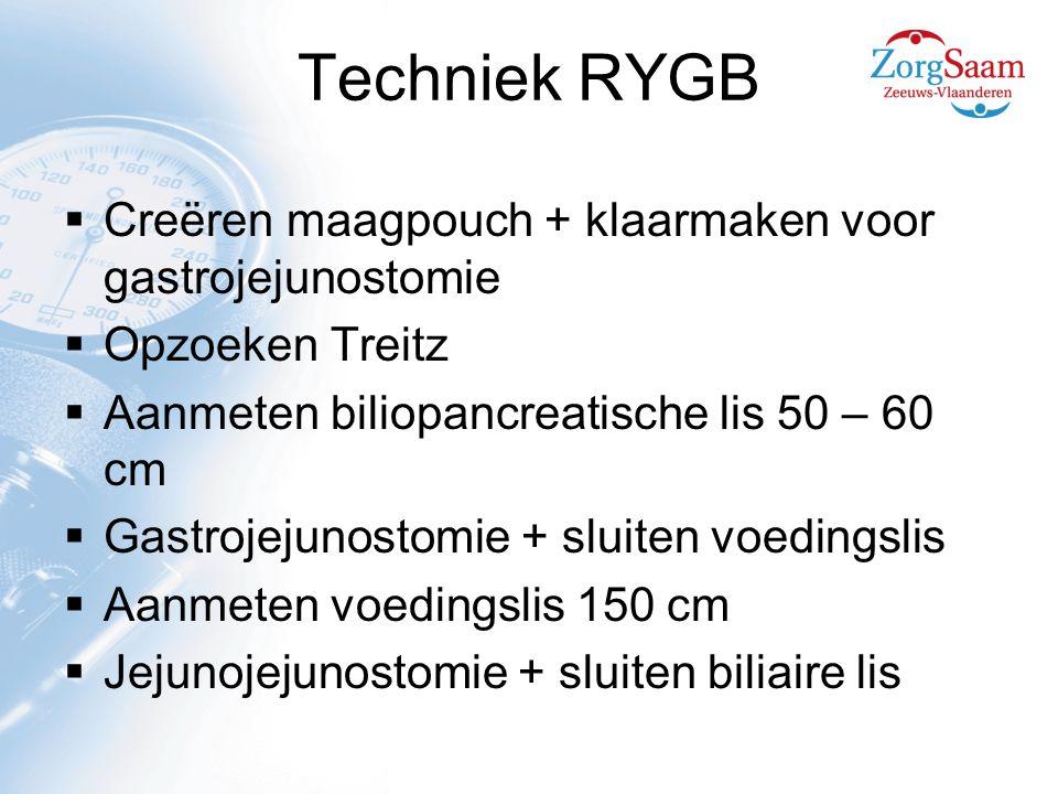 Techniek RYGB  Creëren maagpouch + klaarmaken voor gastrojejunostomie  Opzoeken Treitz  Aanmeten biliopancreatische lis 50 – 60 cm  Gastrojejunostomie + sluiten voedingslis  Aanmeten voedingslis 150 cm  Jejunojejunostomie + sluiten biliaire lis