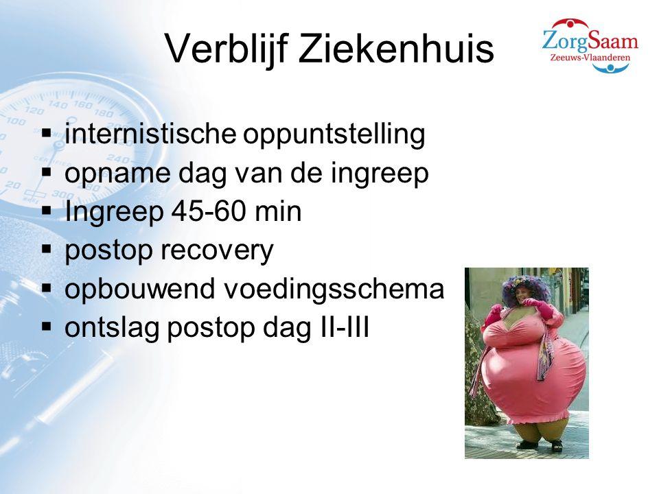 Verblijf Ziekenhuis  internistische oppuntstelling  opname dag van de ingreep  Ingreep 45-60 min  postop recovery  opbouwend voedingsschema  ontslag postop dag II-III