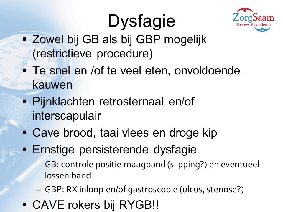 Dysfagie  Zowel bij GB als bij GBP mogelijk (restrictieve procedure)  Te snel en /of te veel eten, onvoldoende kauwen  Pijnklachten retrosternaal en/of interscapulair  Cave brood, taai vlees en droge kip  Ernstige persisterende dysfagie –GB: controle positie maagband (slipping?) en eventueel lossen band –GBP: RX inloop en/of gastroscopie (ulcus, stenose?)  CAVE rokers bij RYGB!!
