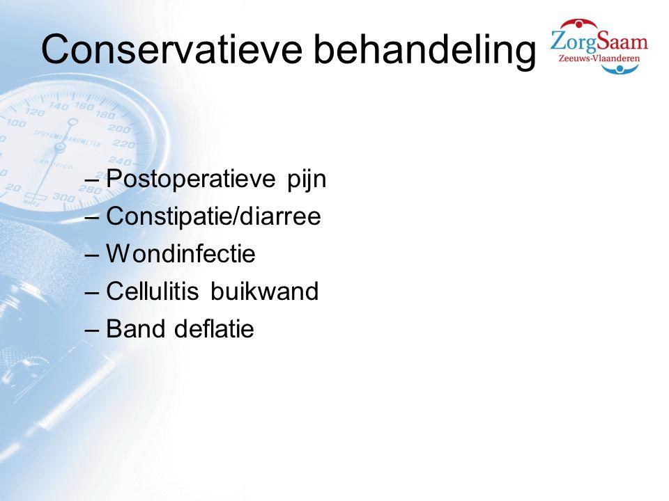 Conservatieve behandeling –Postoperatieve pijn –Constipatie/diarree –Wondinfectie –Cellulitis buikwand –Band deflatie