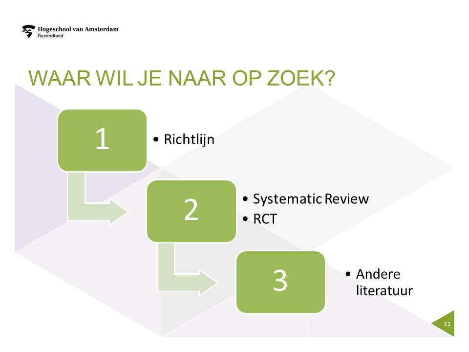 WAAR WIL JE NAAR OP ZOEK? 1 Richtlijn 2 Systematic Review RCT 3 Andere literatuur 11