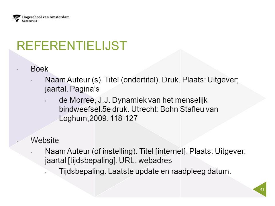 REFERENTIELIJST Boek Naam Auteur (s). Titel (ondertitel). Druk. Plaats: Uitgever; jaartal. Pagina's de Morree, J.J. Dynamiek van het menselijk bindwee