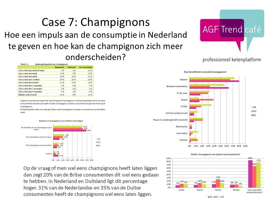 Case 7: Champignons Hoe een impuls aan de consumptie in Nederland te geven en hoe kan de champignon zich meer onderscheiden.