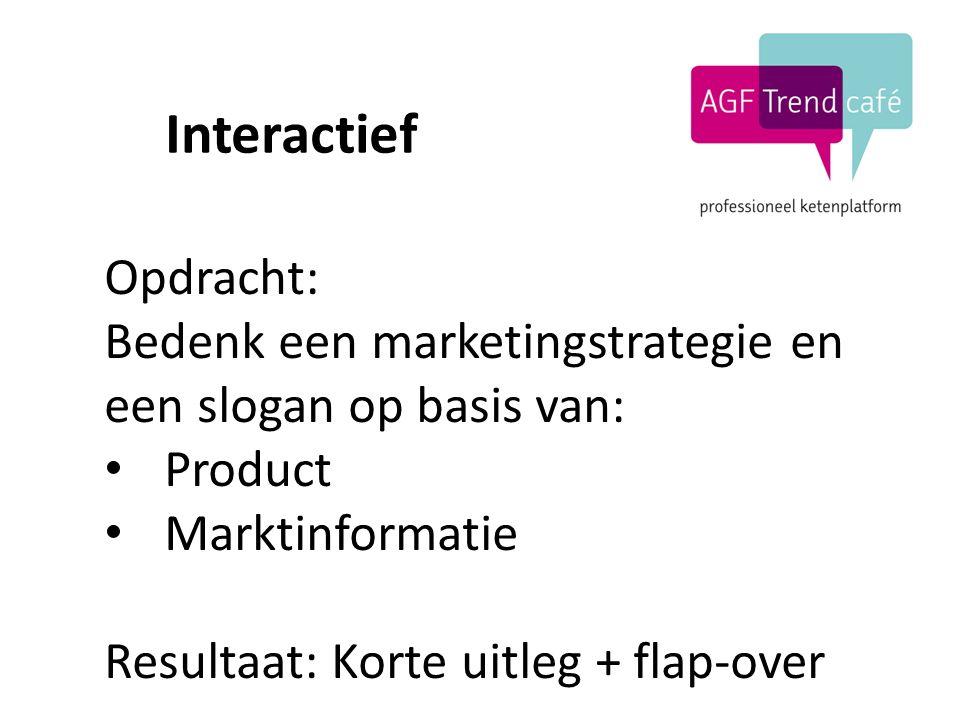 Interactief Opdracht: Bedenk een marketingstrategie en een slogan op basis van: Product Marktinformatie Resultaat: Korte uitleg + flap-over