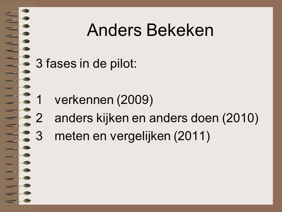 Anders Bekeken 3 fases in de pilot: 1verkennen (2009) 2anders kijken en anders doen (2010) 3meten en vergelijken (2011)