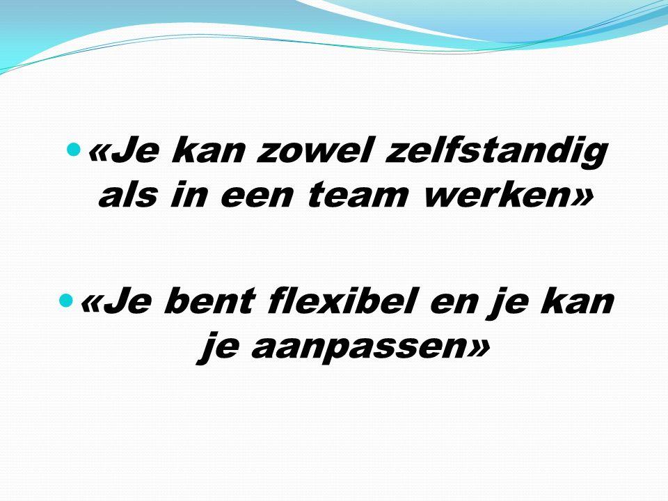 «Je kan zowel zelfstandig als in een team werken» «Je bent flexibel en je kan je aanpassen»