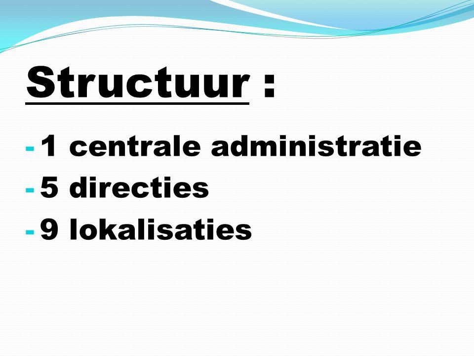 Structuur : - 1 centrale administratie - 5 directies - 9 lokalisaties