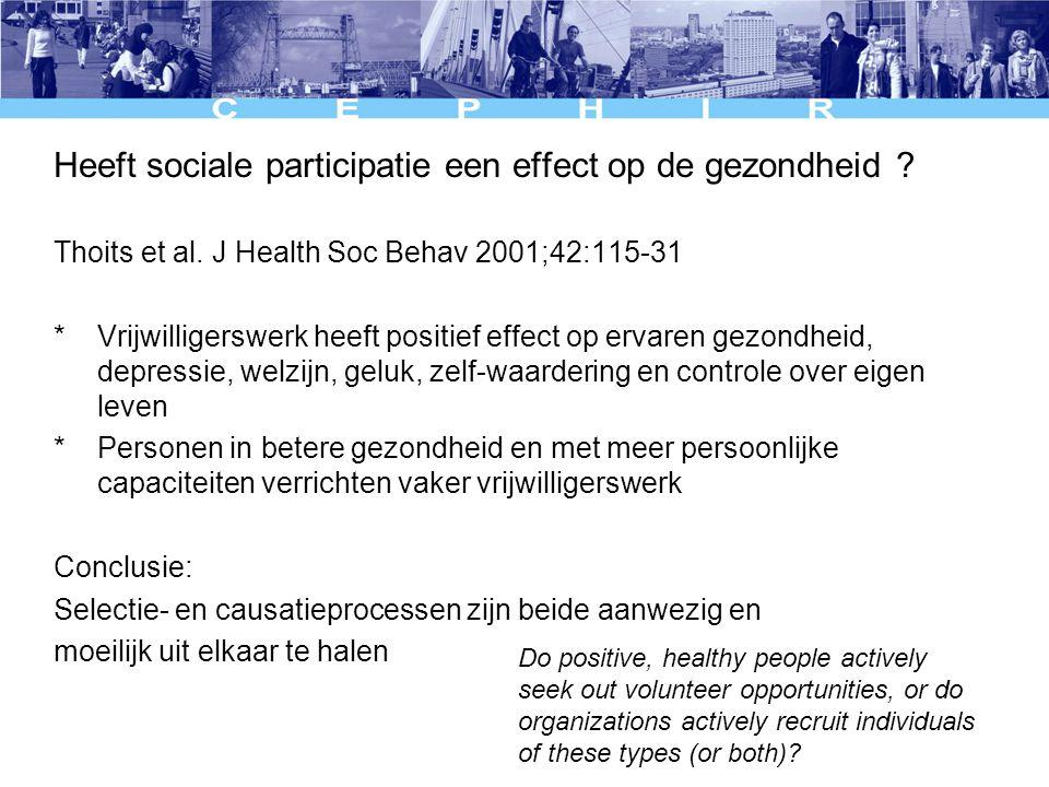 Heeft sociale participatie een effect op de gezondheid .