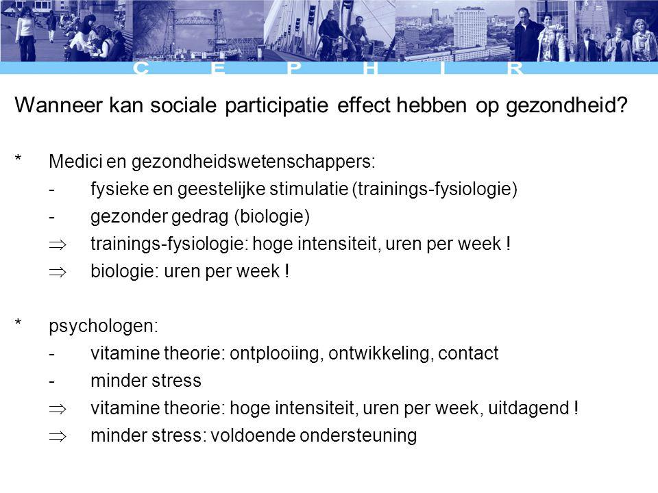 Wanneer kan sociale participatie effect hebben op gezondheid.