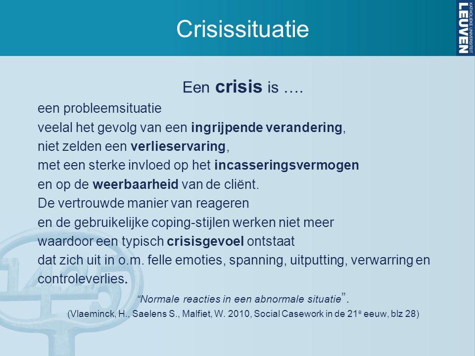 Crisissituatie Een crisis is …. een probleemsituatie veelal het gevolg van een ingrijpende verandering, niet zelden een verlieservaring, met een sterk