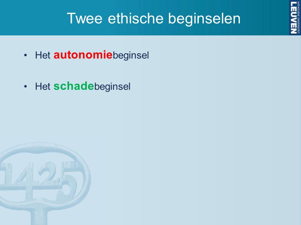 Twee ethische beginselen Het autonomie beginsel Het schade beginsel