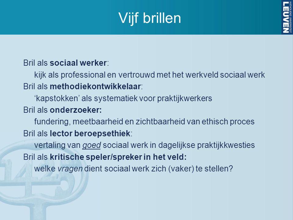 Vijf brillen Bril als sociaal werker: kijk als professional en vertrouwd met het werkveld sociaal werk Bril als methodiekontwikkelaar: 'kapstokken' al