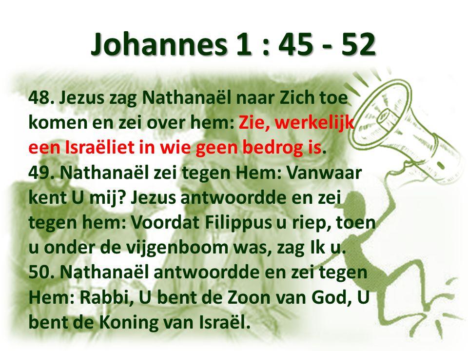 Johannes 1 : 45 - 52 48. Jezus zag Nathanaël naar Zich toe komen en zei over hem: Zie, werkelijk een Israëliet in wie geen bedrog is. 49. Nathanaël ze