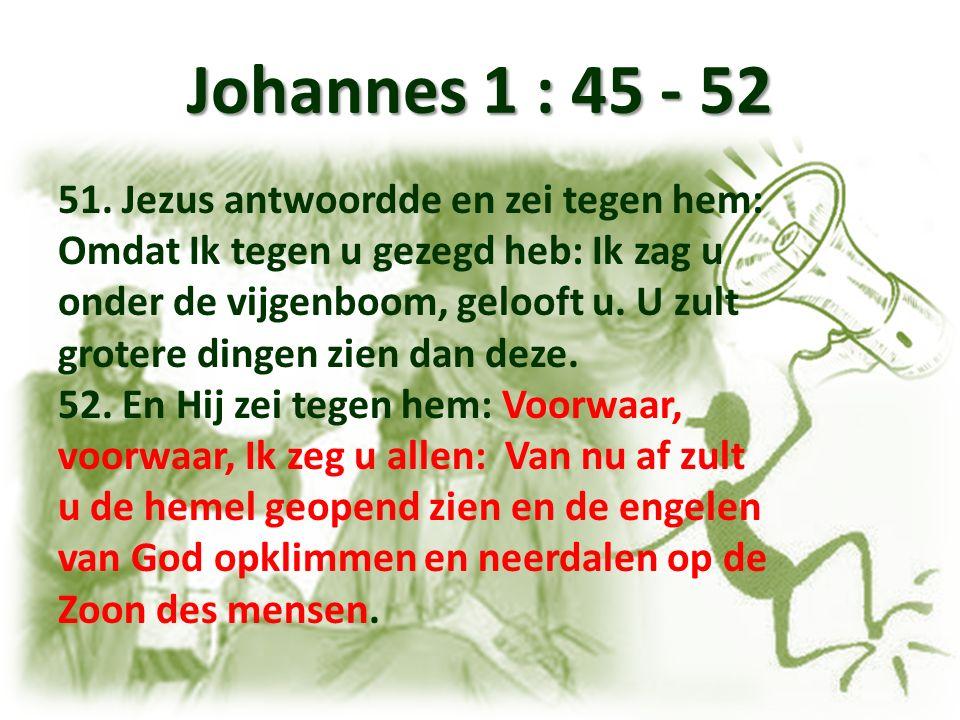 Johannes 1 : 45 - 52 51. Jezus antwoordde en zei tegen hem: Omdat Ik tegen u gezegd heb: Ik zag u onder de vijgenboom, gelooft u. U zult grotere dinge