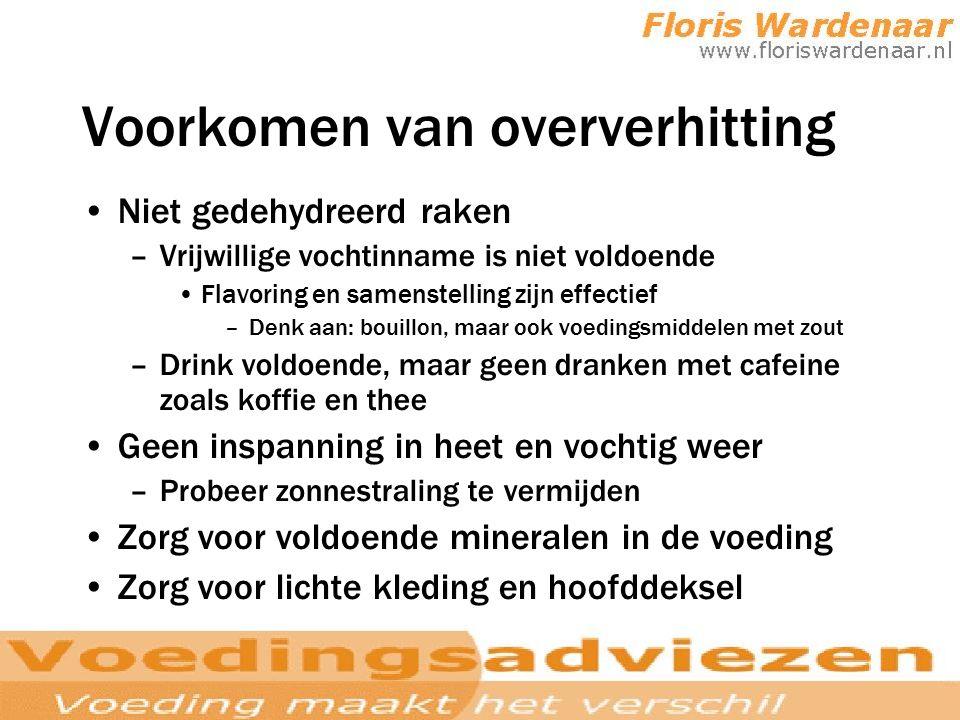 Voorkomen van oververhitting Niet gedehydreerd raken –Vrijwillige vochtinname is niet voldoende Flavoring en samenstelling zijn effectief –Denk aan: b