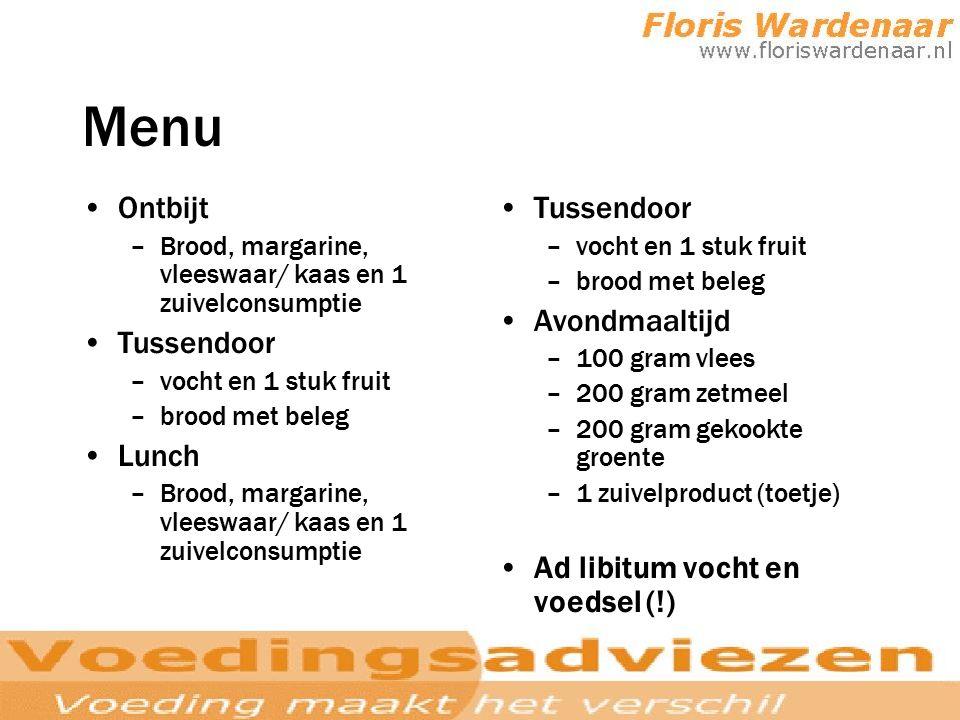 Menu Ontbijt –Brood, margarine, vleeswaar/ kaas en 1 zuivelconsumptie Tussendoor –vocht en 1 stuk fruit –brood met beleg Lunch –Brood, margarine, vlee