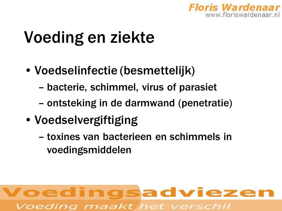 Voeding en ziekte Voedselinfectie (besmettelijk) –bacterie, schimmel, virus of parasiet –ontsteking in de darmwand (penetratie) Voedselvergiftiging –t