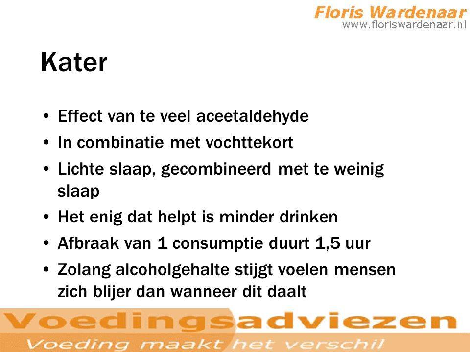 Kater Effect van te veel aceetaldehyde In combinatie met vochttekort Lichte slaap, gecombineerd met te weinig slaap Het enig dat helpt is minder drink