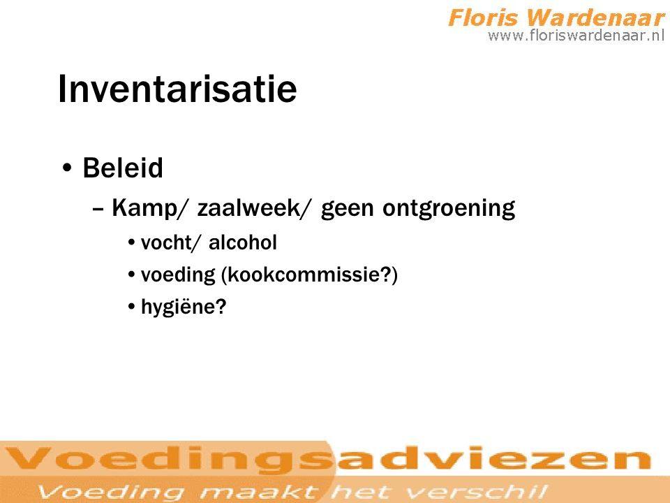 Inventarisatie Beleid –Kamp/ zaalweek/ geen ontgroening vocht/ alcohol voeding (kookcommissie?) hygiëne?