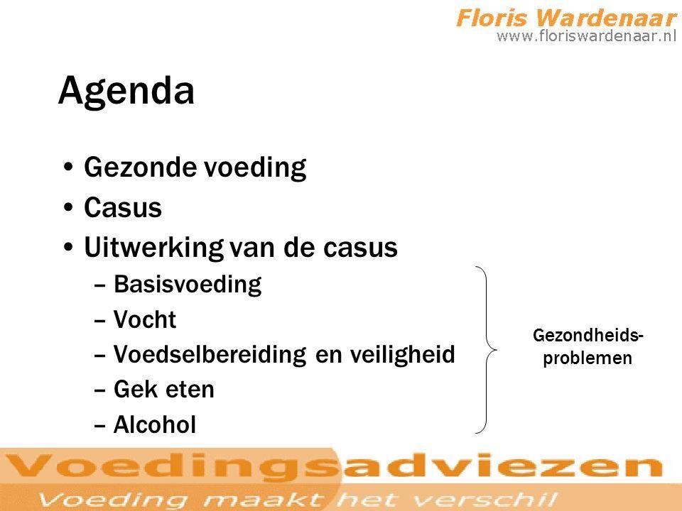 Agenda Gezonde voeding Casus Uitwerking van de casus –Basisvoeding –Vocht –Voedselbereiding en veiligheid –Gek eten –Alcohol Gezondheids- problemen
