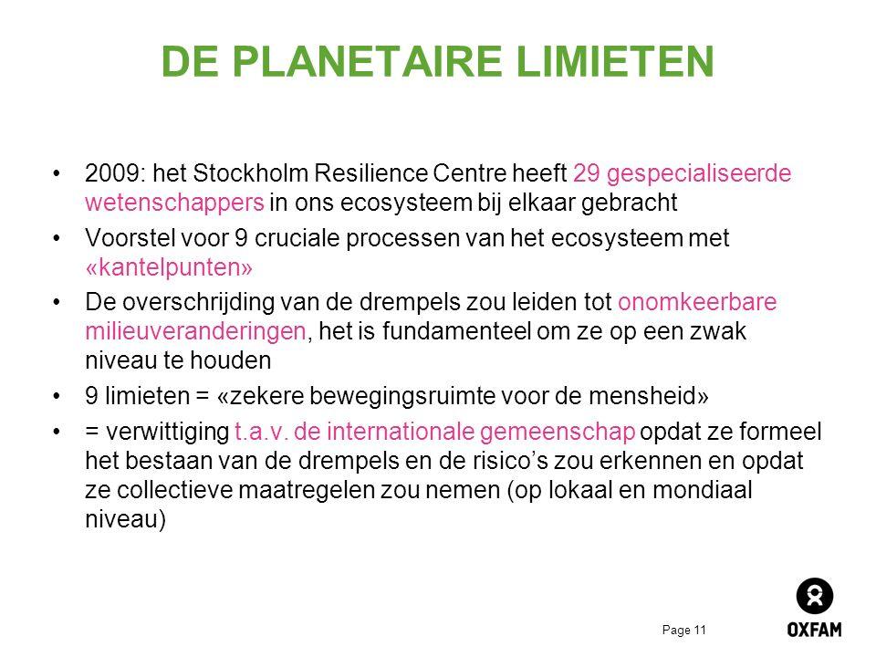Page 11 DE PLANETAIRE LIMIETEN 2009: het Stockholm Resilience Centre heeft 29 gespecialiseerde wetenschappers in ons ecosysteem bij elkaar gebracht Voorstel voor 9 cruciale processen van het ecosysteem met «kantelpunten» De overschrijding van de drempels zou leiden tot onomkeerbare milieuveranderingen, het is fundamenteel om ze op een zwak niveau te houden 9 limieten = «zekere bewegingsruimte voor de mensheid» = verwittiging t.a.v.