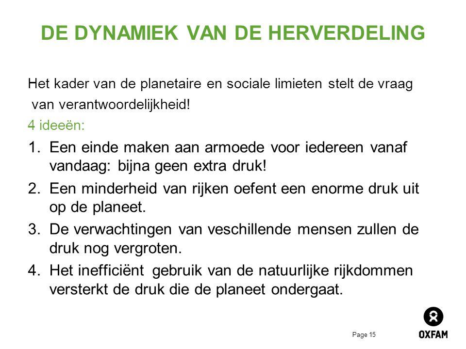 Page 15 DE DYNAMIEK VAN DE HERVERDELING Het kader van de planetaire en sociale limieten stelt de vraag van verantwoordelijkheid.